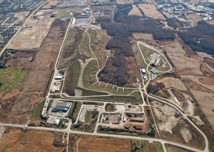 Region of Waterloo landfill, aerial view.
