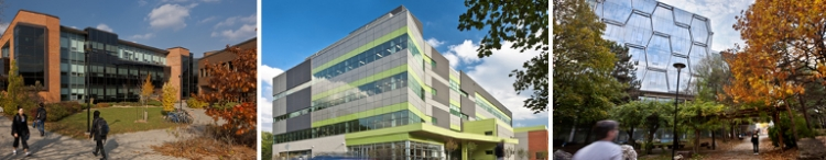 Pictures of campus buildings, Environment 3, Burt Mathews Hall, the Quantum Nanotech centre