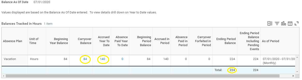 """Vacation balance page with the """"carryover balance"""" """"accrued year to date"""" and """"total ending period balance"""" circled."""