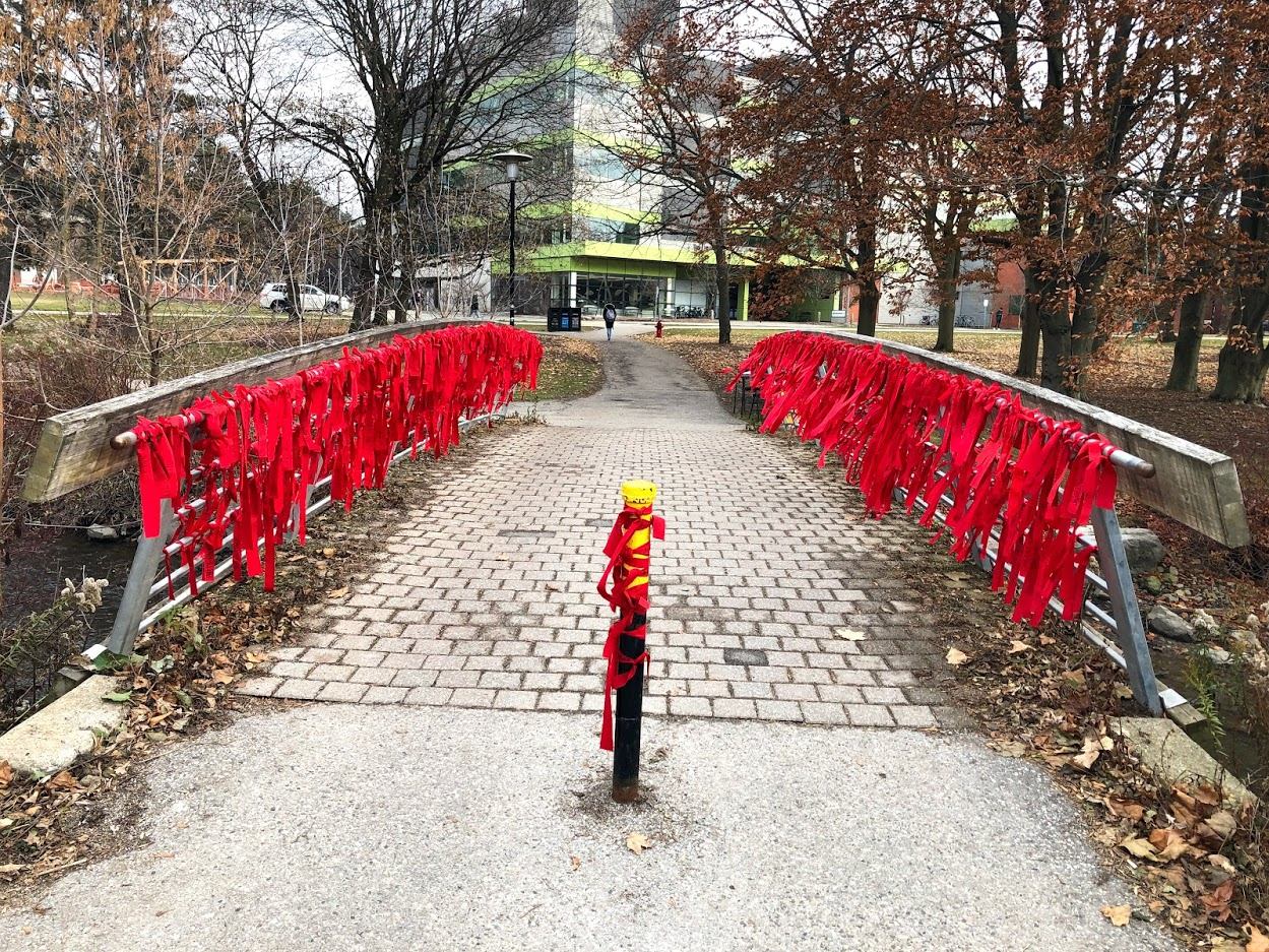 Red ribbons on bridge