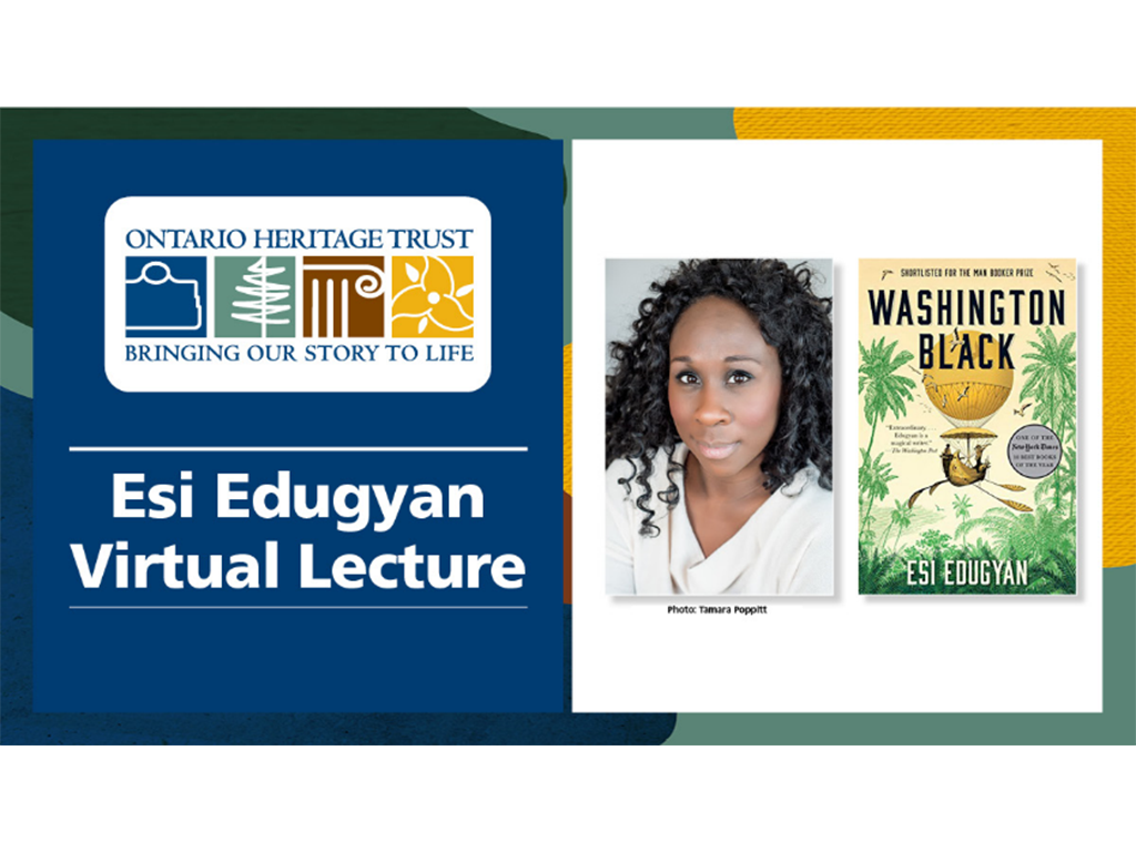 "Photo of Esi Edugyan beside her book titled ""Washington Black"""