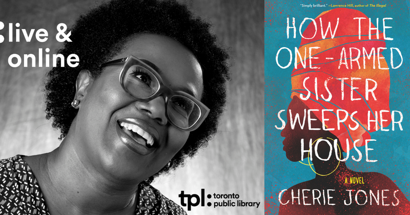 "Photo of author Cherie Jones beside her book titled ""How the One-Armed Sister Sweeps Her House"""