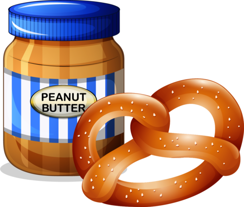 a jar of peanut butter beside a pretze