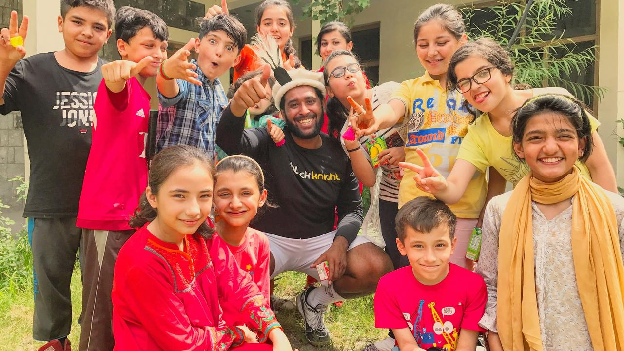 Rahim Karmali with student-athletes in Pakistan