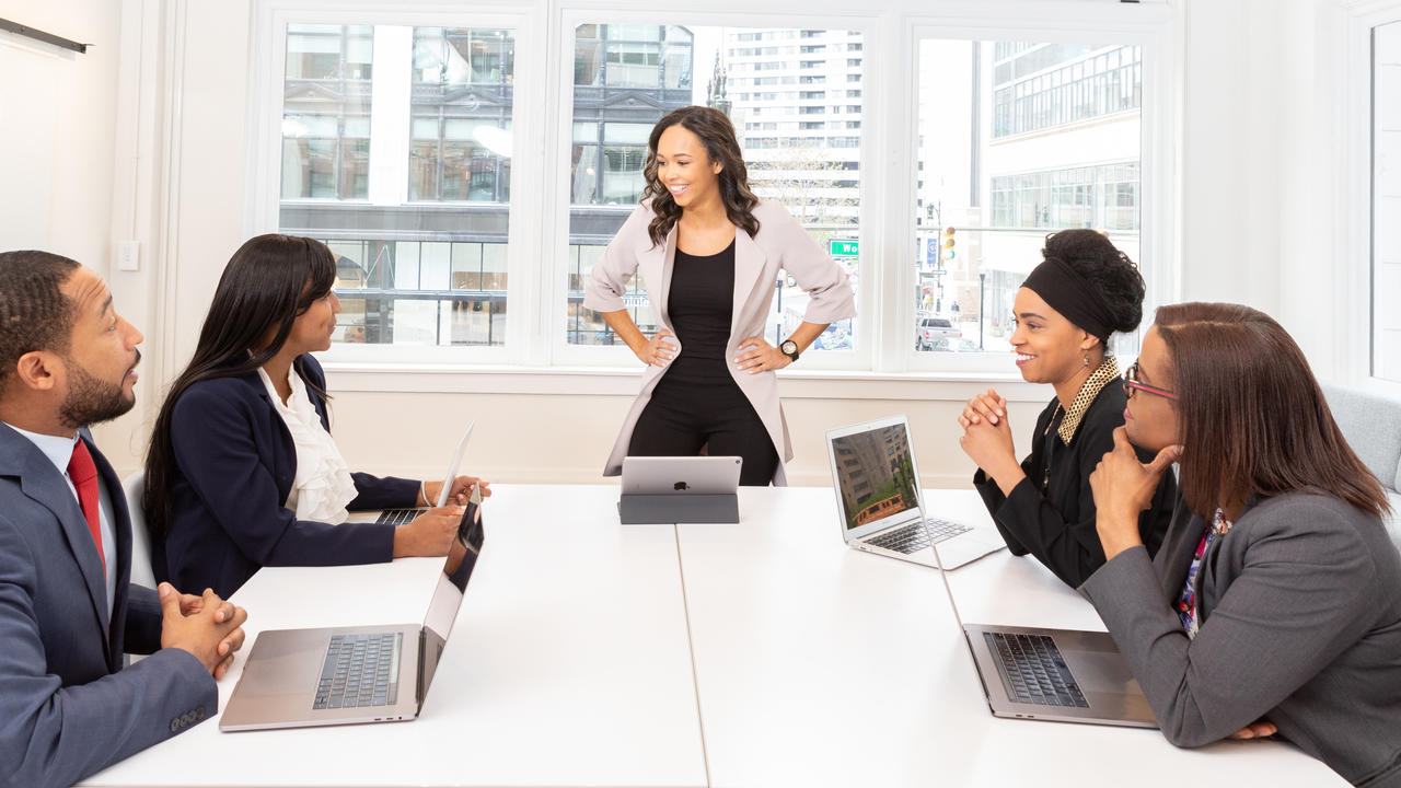 Team in a meeting