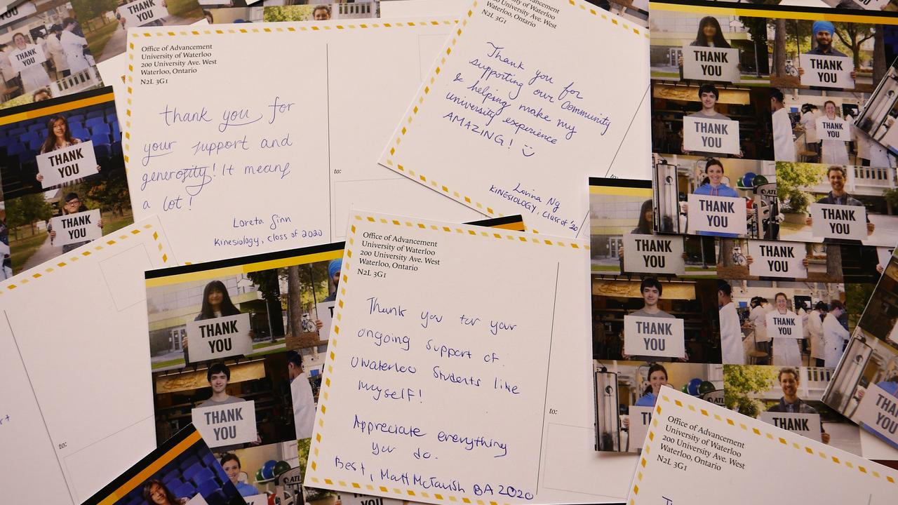 Thank you cards for donors written by students