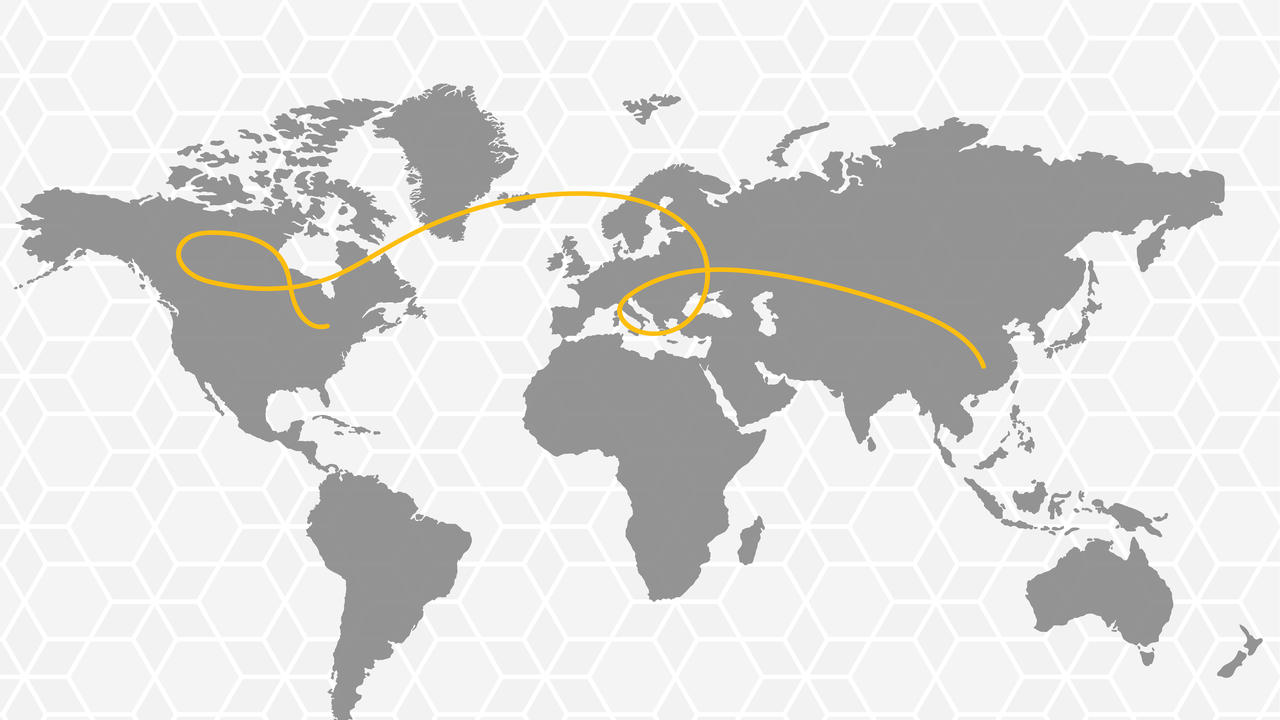 Global map with a golden thread connecting Waterloo and Wuhan