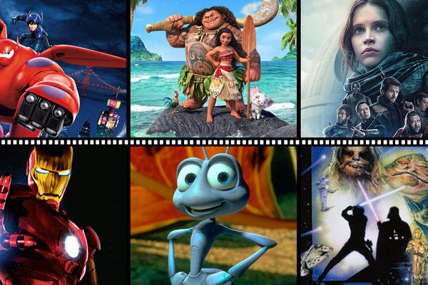 Collage of Big Hero 6, Moana, Rogue One, Iron Man, Bug's Life and Return of the Jedi photos
