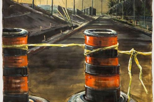 Painting of road pylons