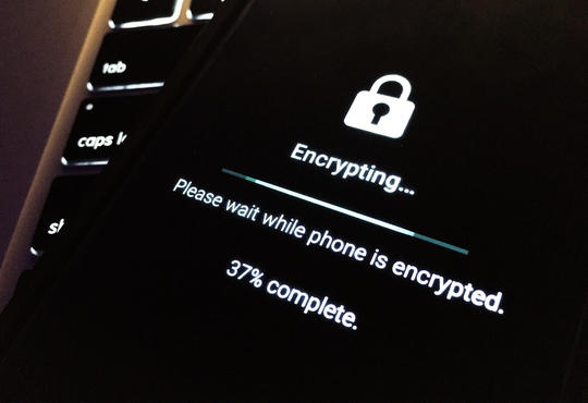 Encrypting. Please wait while phone is encrypted. 37% complete.