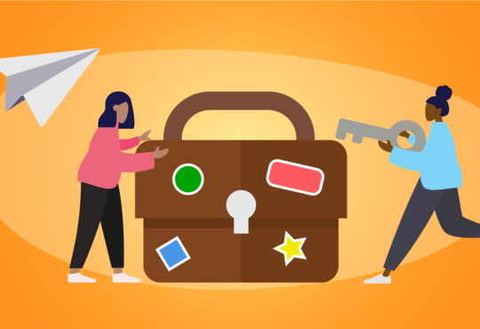 two people inserting key into a briefcase banner