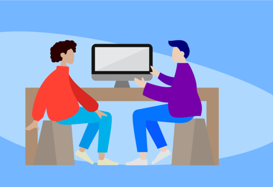 two people sitting and talking banner