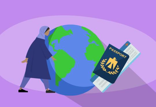 women standing next to world with passport banner