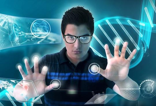 Male interacting with touch screen