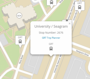 Campus map displaying sample EasyGo information