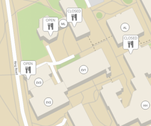 Campus map showing open/closed status of food outlets