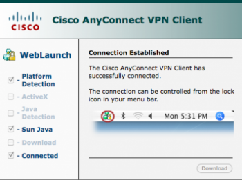 Cisco AnyConnect VPN Client connection established screen