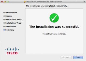 AnyConnect Successful installation dialog window