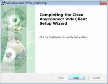 Cisco AnyConnect VPN Client setup completion window