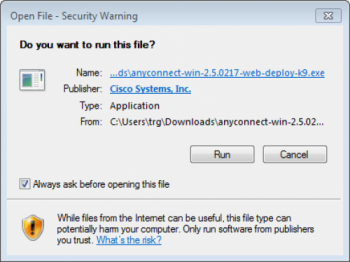 Open file-security warning dialogue box