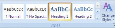 Microsoft Word Styles options