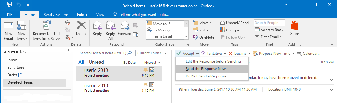 Updating response to a declined meeting in the Deleted Items folder