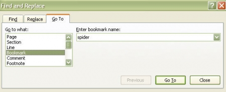 Find and replace for bookmarked name option box