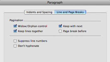 Line and page break options box