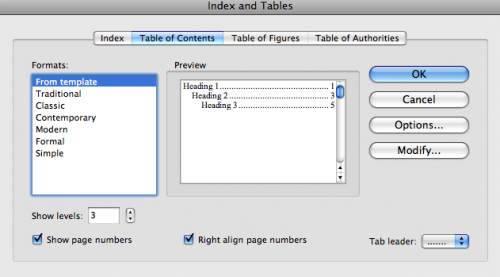 Table of Contents options box