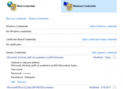 Screenshot of Windows Credentials screen.