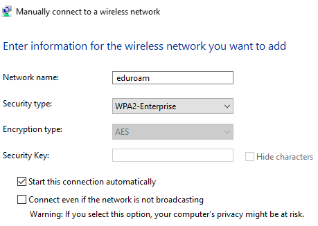 Configured settings for manually connect to a wireless network.
