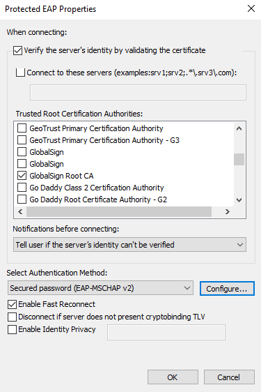 GlobalSign Root CA selected, and Configure... button.
