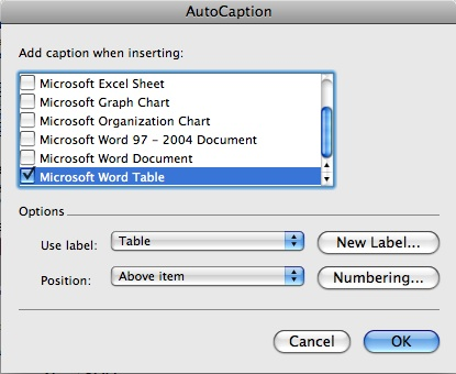 Autocaption options box