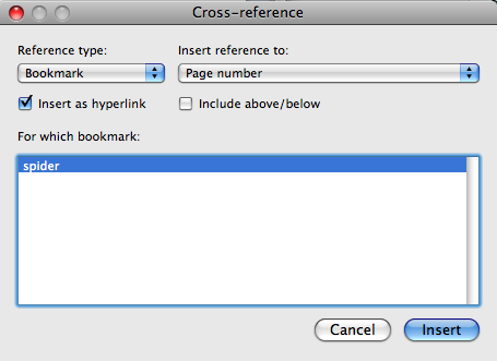 Cross reference options box for bookmarks