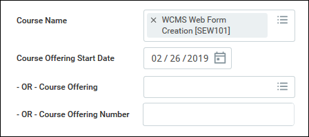 Course name field with WCMS Web Form SEW101