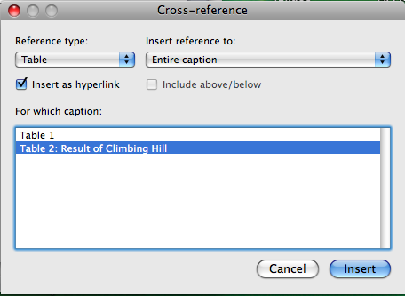 Cross reference options box