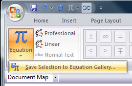 Equation gallery button