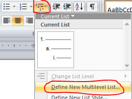 Define new multilevel list option