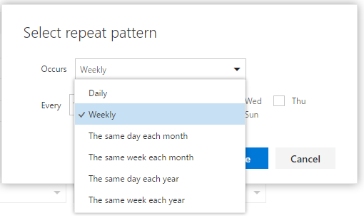Create event - occurs dropdown options