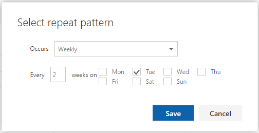 Create event - repeat pattern options