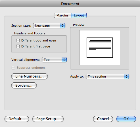Document layout options box