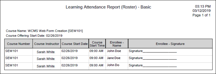 Learning Attendance Report (Report) - Basic excel