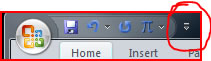 Arrow to the right of the Quick Access Toolbar