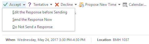 Options to respond to a meeting request