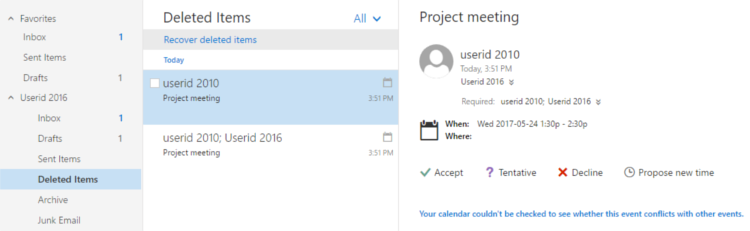 Retrieving a meeting request from the Deleted Items folder.