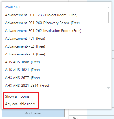 Create event - adding a room in scheduling assistant