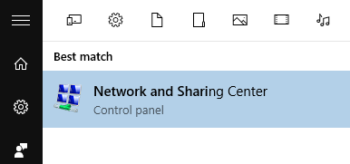 Network and Sharing Center appearing on the search result.