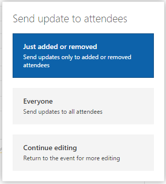 Send meeting updates to attendees options