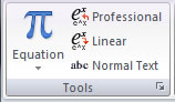 Equation gallery under Tools section