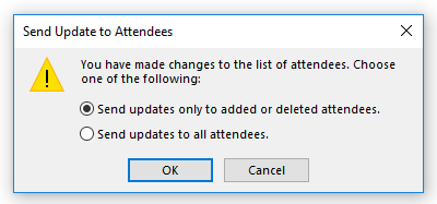 Updating a meeting - Send Update to Attendees dialog box